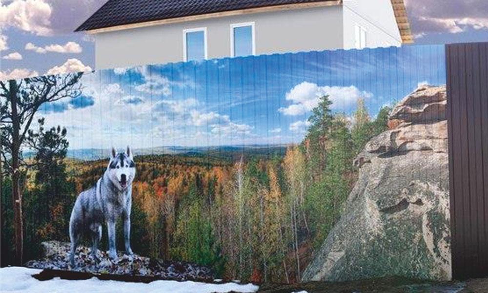 забор с фото рисунком